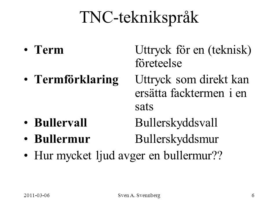 TNC-teknikspråk Term Uttryck för en (teknisk) företeelse