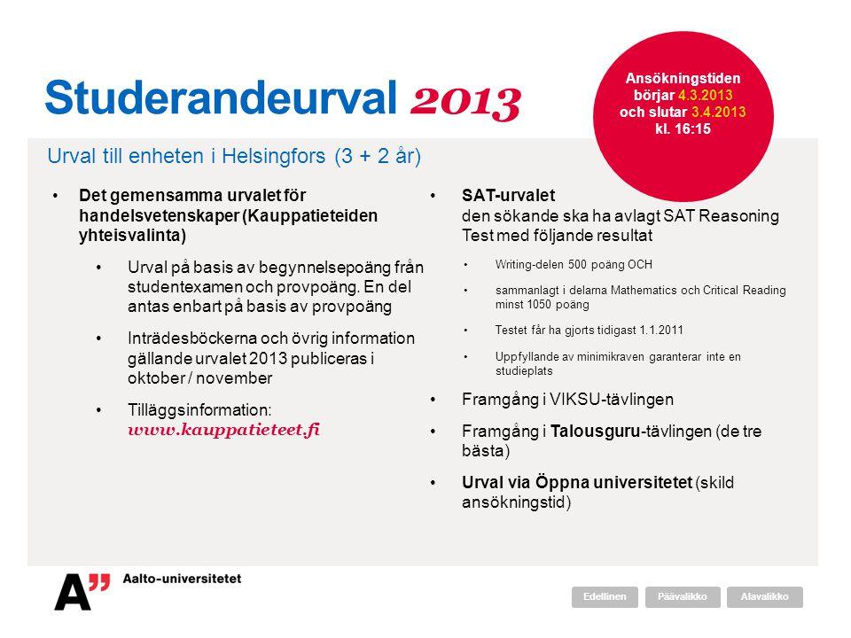 Ansökningstiden börjar 4.3.2013 och slutar 3.4.2013 kl. 16:15