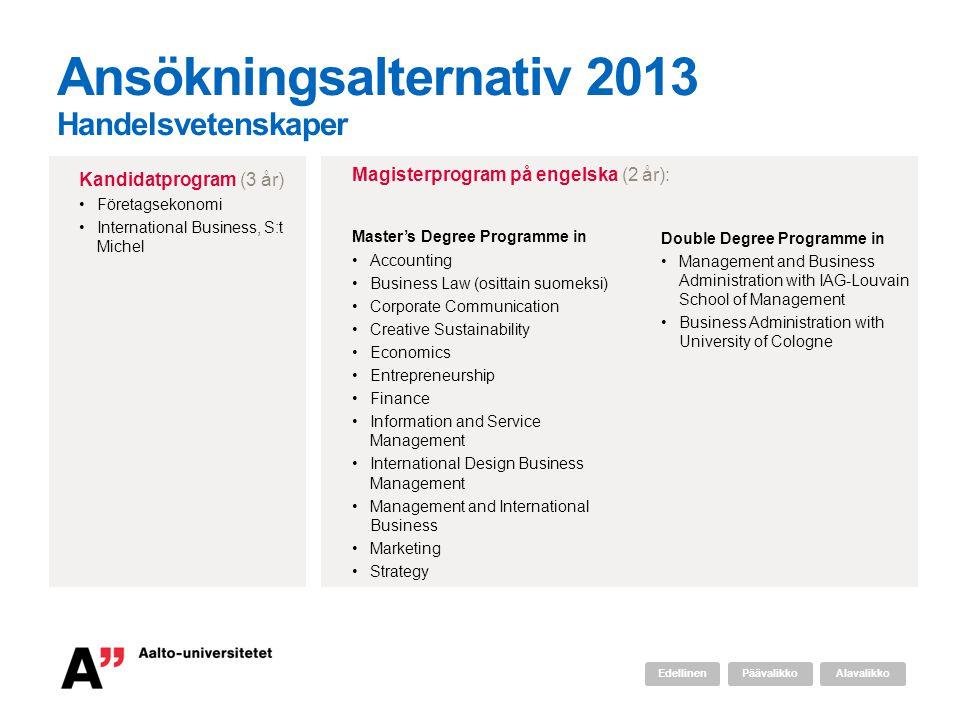 Ansökningsalternativ 2013 Handelsvetenskaper
