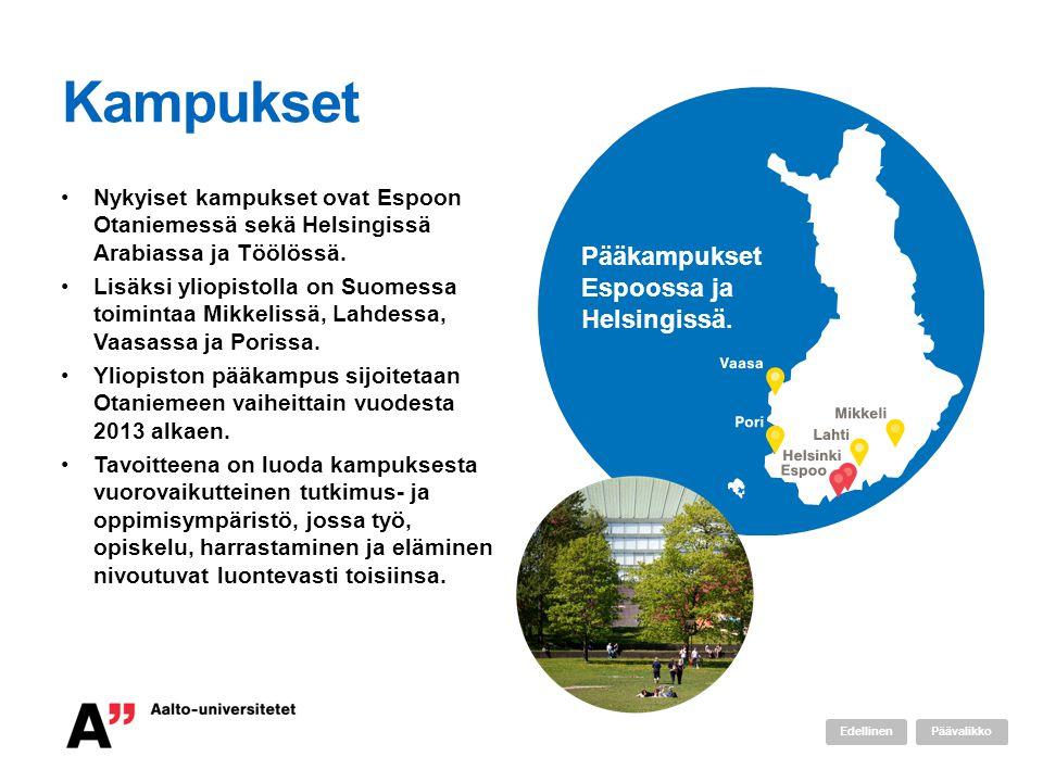 Kampukset Pääkampukset Espoossa ja Helsingissä.