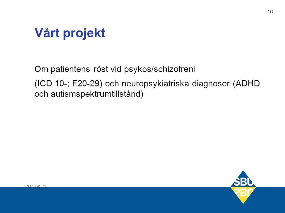 Vårt projekt Om patientens röst vid psykos/schizofreni