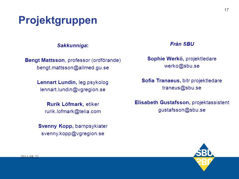 Projektgruppen Från SBU Sakkunniga: Sophie Werkö, projektledare
