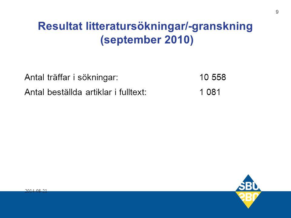Resultat litteratursökningar/-granskning (september 2010)