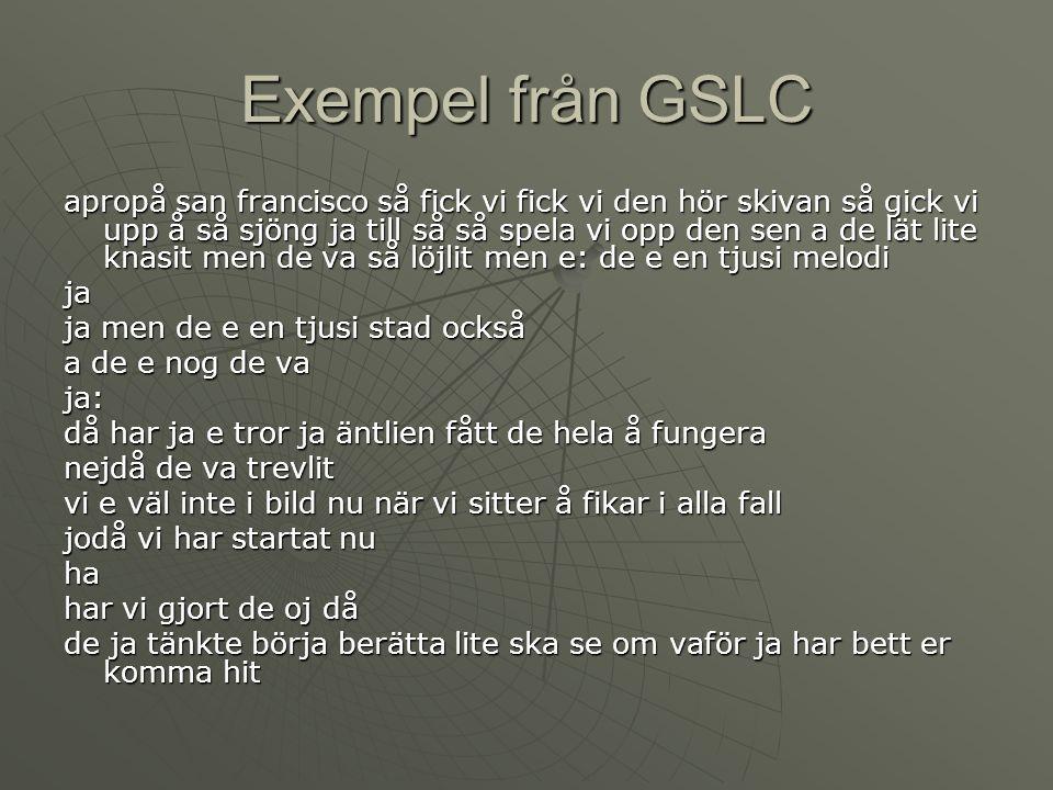Exempel från GSLC