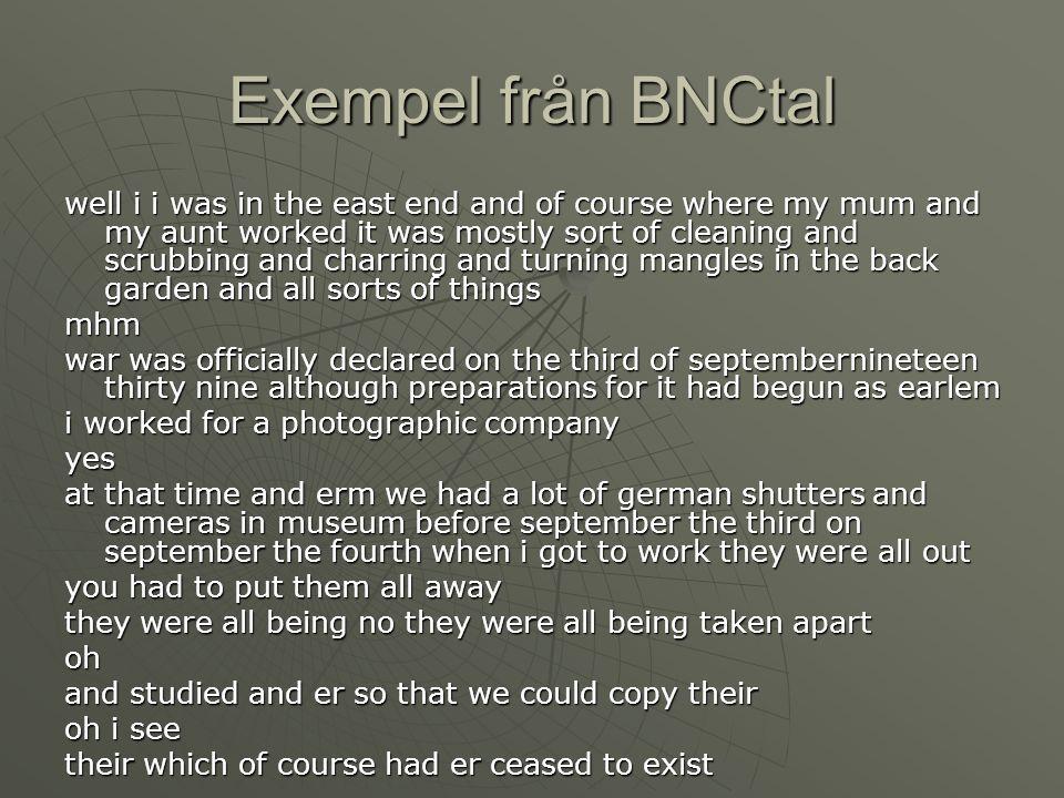 Exempel från BNCtal