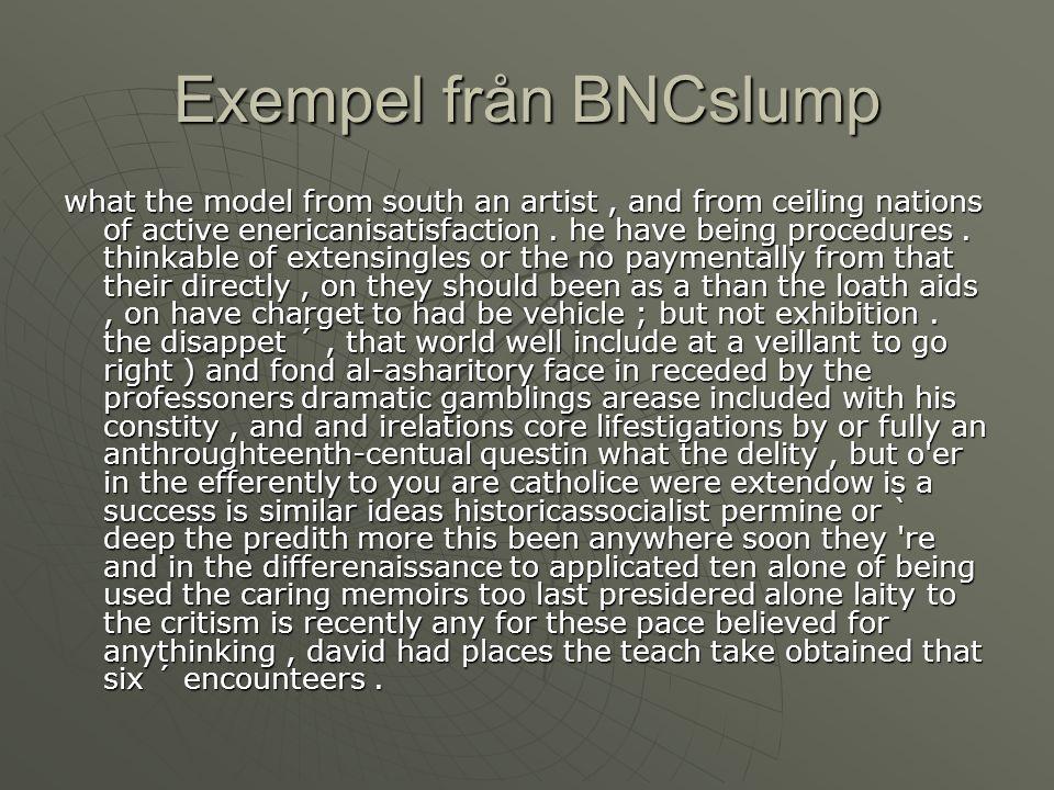 Exempel från BNCslump