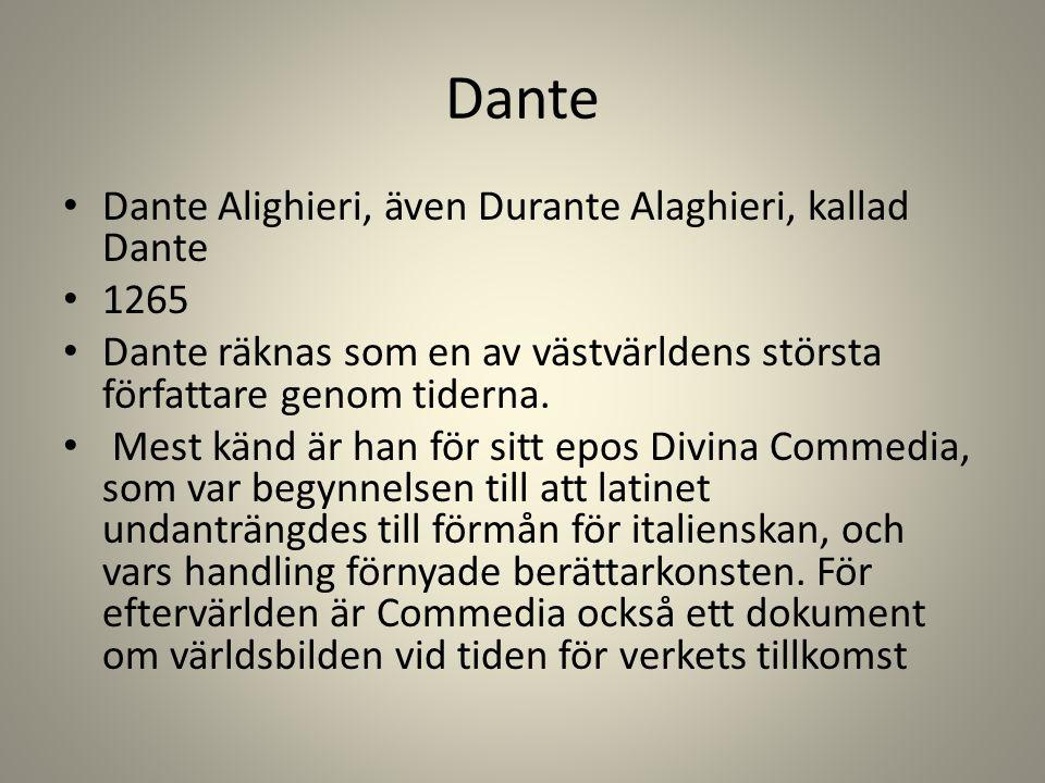 Dante Dante Alighieri, även Durante Alaghieri, kallad Dante 1265