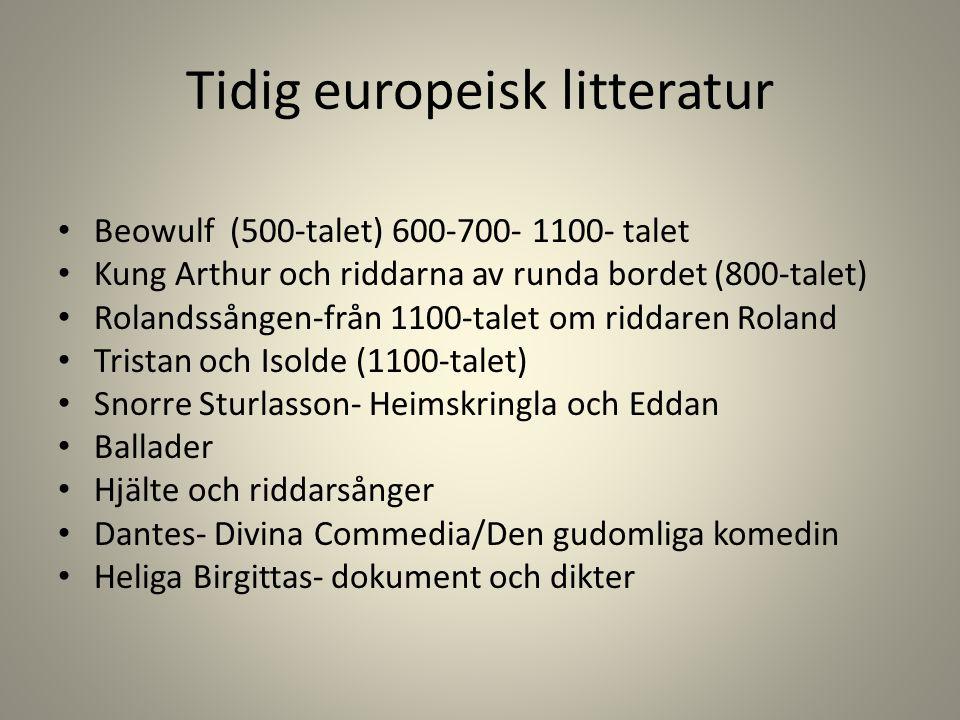 Tidig europeisk litteratur