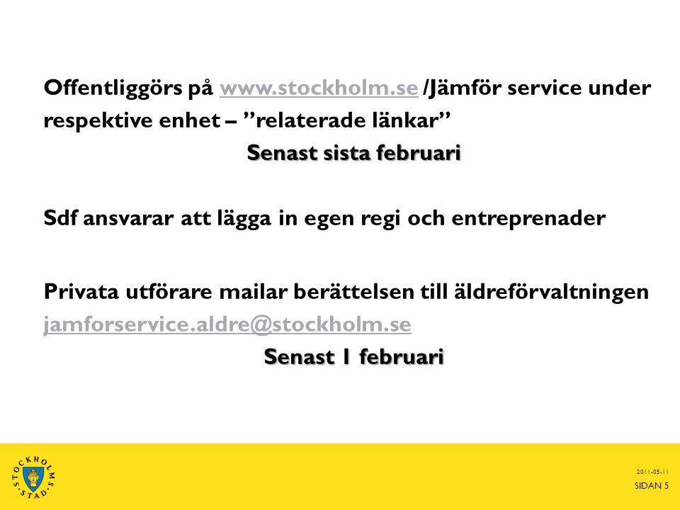 Offentliggörs på www.stockholm.se /Jämför service under