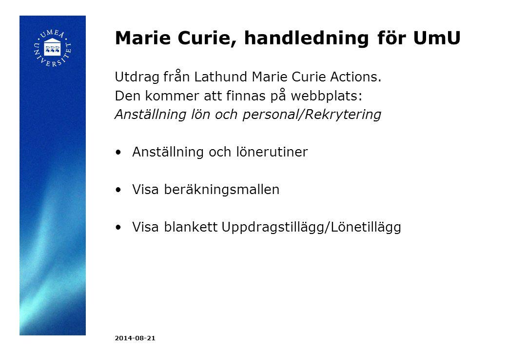 Marie Curie, handledning för UmU