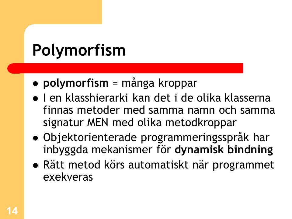 Polymorfism polymorfism = många kroppar
