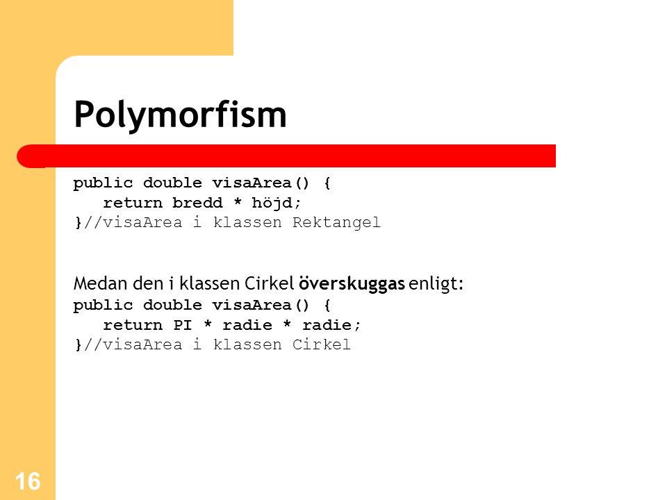 Polymorfism Medan den i klassen Cirkel överskuggas enligt: