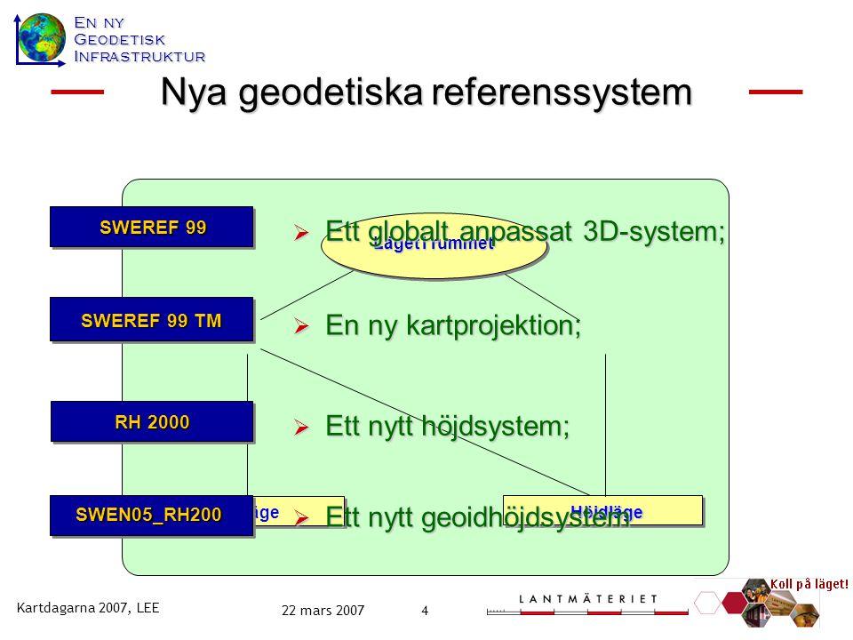 Nya geodetiska referenssystem Ny geodetisk infrastruktur