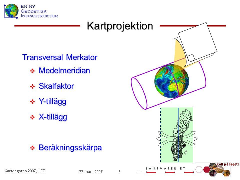Kartprojektion Transversal Merkator Medelmeridian Skalfaktor Y-tillägg
