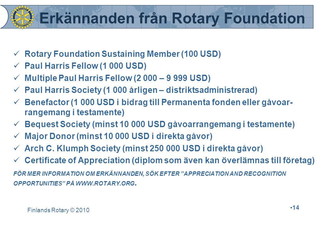 Erkännanden från Rotary Foundation