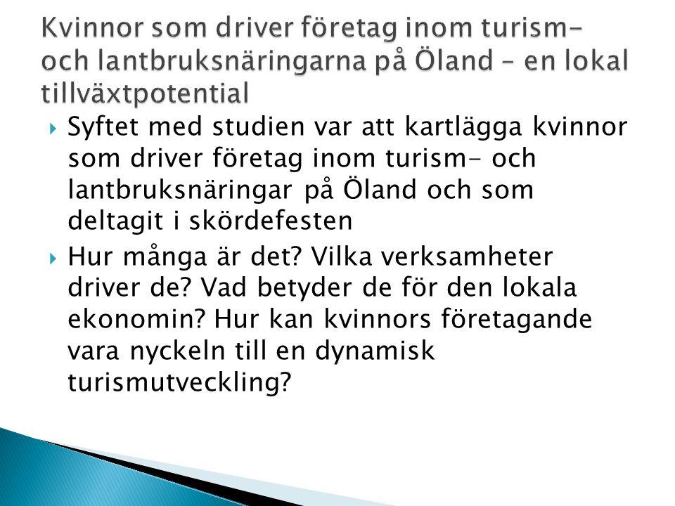 Kvinnor som driver företag inom turism- och lantbruksnäringarna på Öland – en lokal tillväxtpotential
