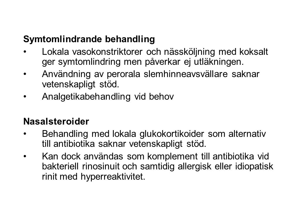 Kompletterande läkemedelsalternativ-bakteriell rinosinuit