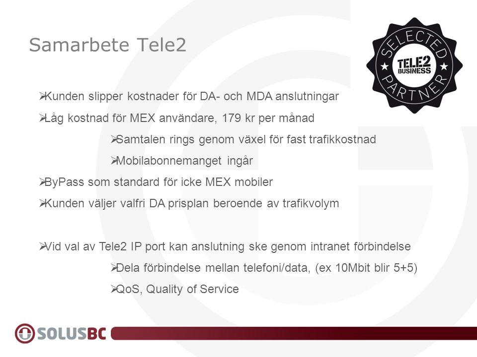 Samarbete Tele2 Kunden slipper kostnader för DA- och MDA anslutningar