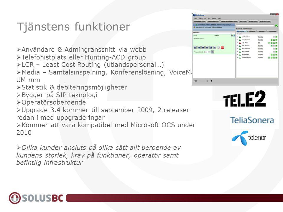 Tjänstens funktioner Användare & Admingränssnitt via webb