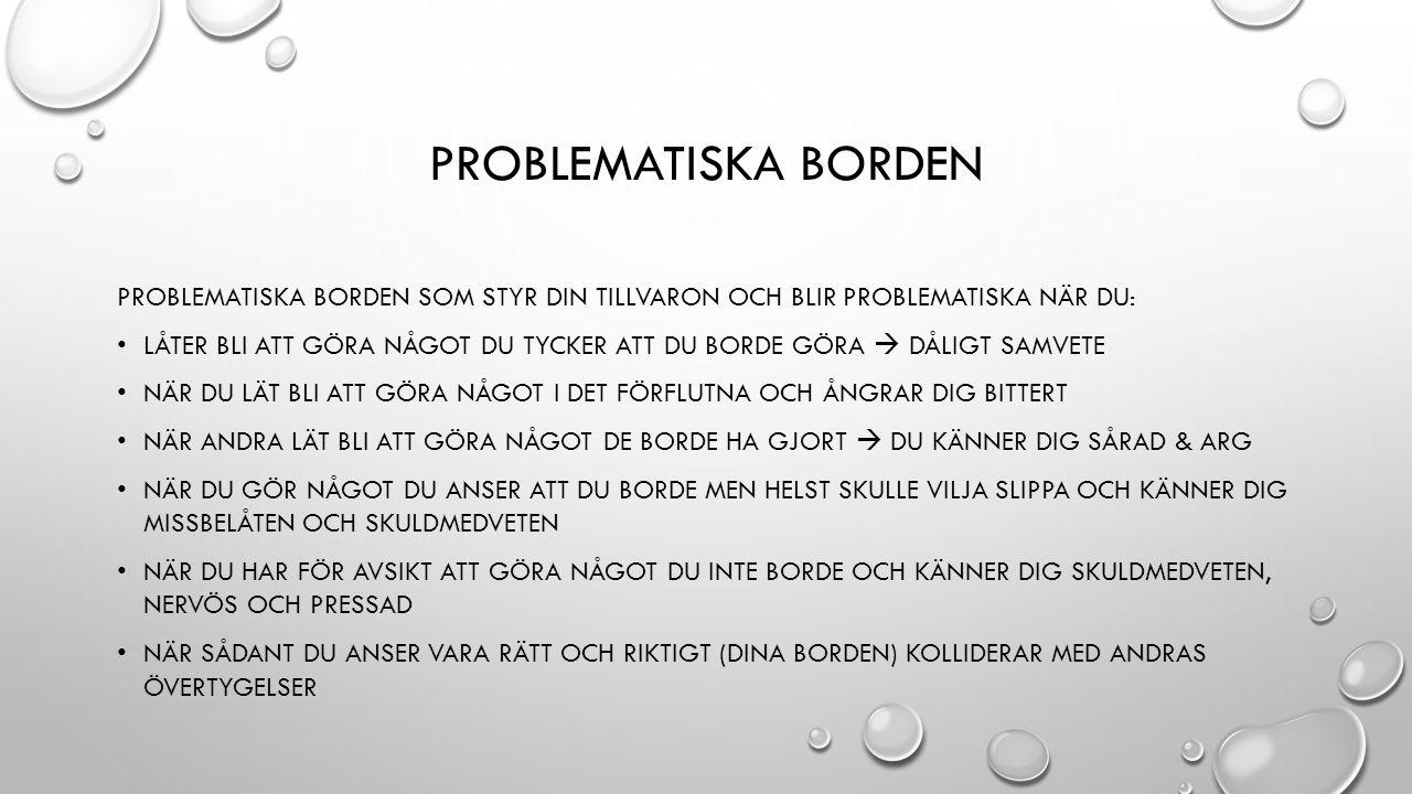 Problematiska borden Problematiska borden som styr din tillvaron och blir problematiska när du: