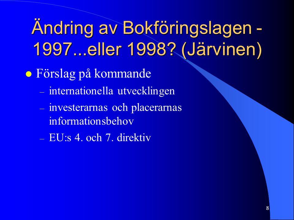 Ändring av Bokföringslagen -1997...eller 1998 (Järvinen)