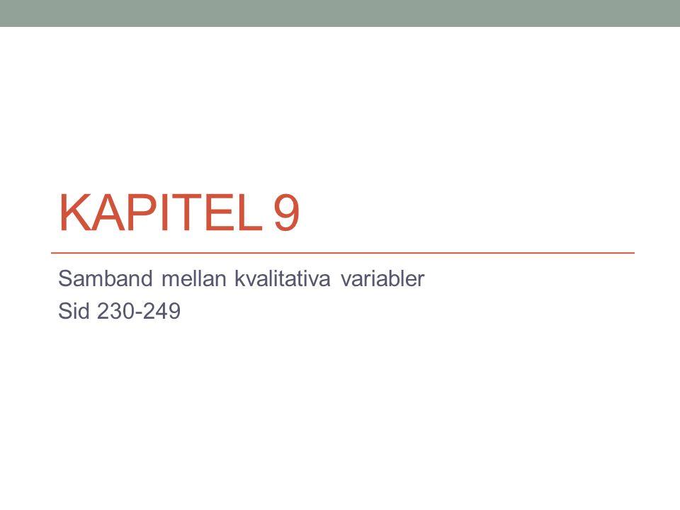 Samband mellan kvalitativa variabler Sid 230-249