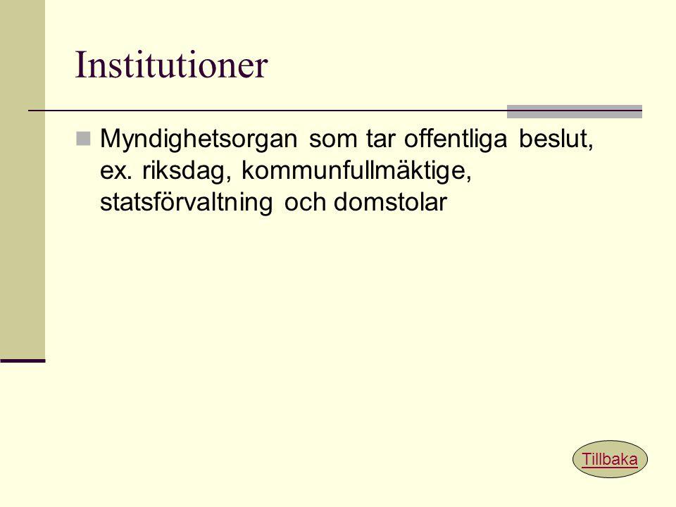 Institutioner Myndighetsorgan som tar offentliga beslut, ex. riksdag, kommunfullmäktige, statsförvaltning och domstolar.