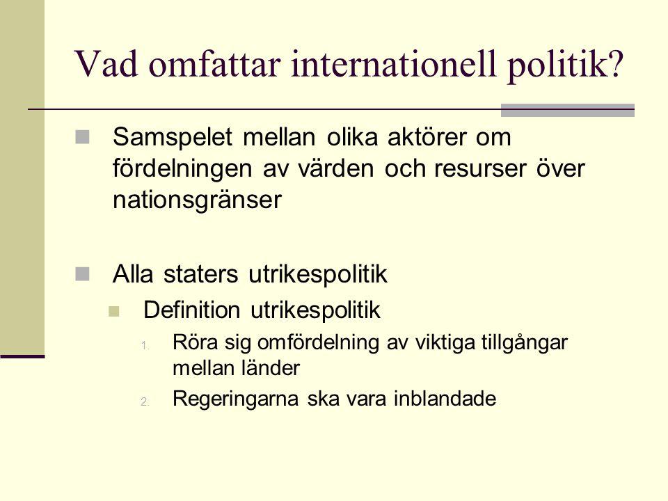 Vad omfattar internationell politik