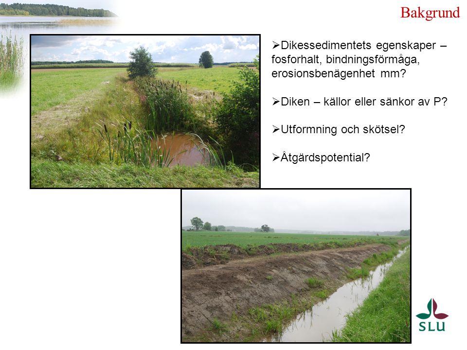 Bakgrund Dikessedimentets egenskaper – fosforhalt, bindningsförmåga, erosionsbenägenhet mm Diken – källor eller sänkor av P