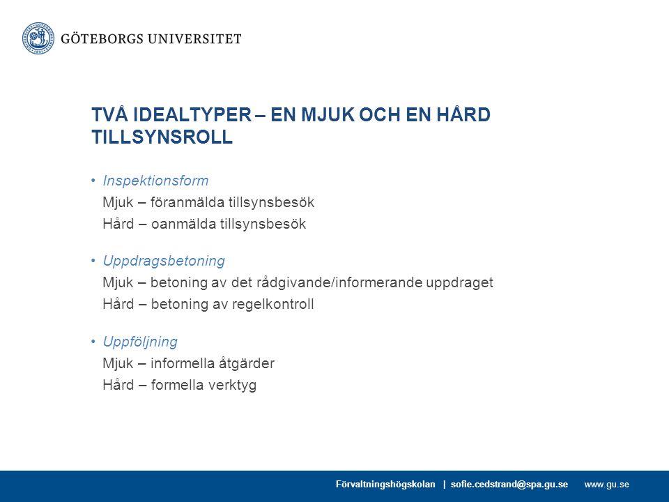 TVÅ IDEALTYPER – EN MJUK OCH EN HÅRD TILLSYNSROLL