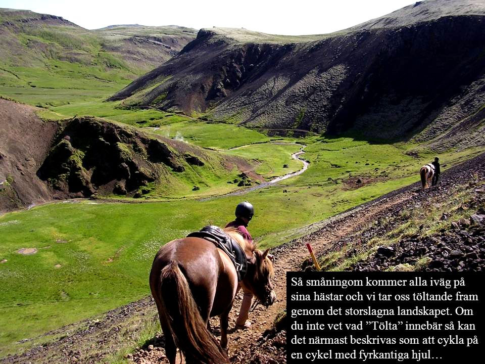 Så småningom kommer alla iväg på sina hästar och vi tar oss töltande fram genom det storslagna landskapet.