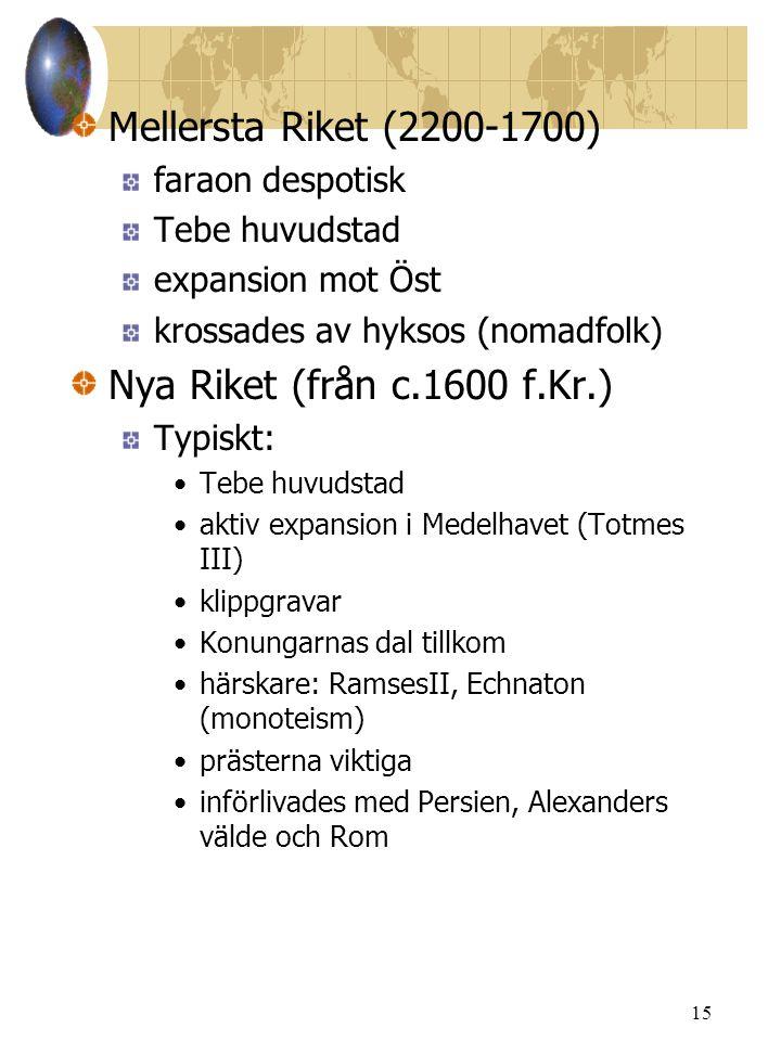 Mellersta Riket (2200-1700) Nya Riket (från c.1600 f.Kr.)