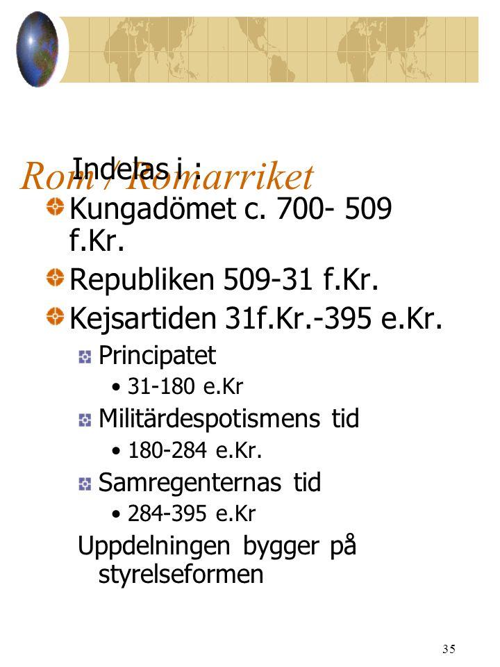 Rom / Romarriket Indelas i : Kungadömet c. 700- 509 f.Kr.