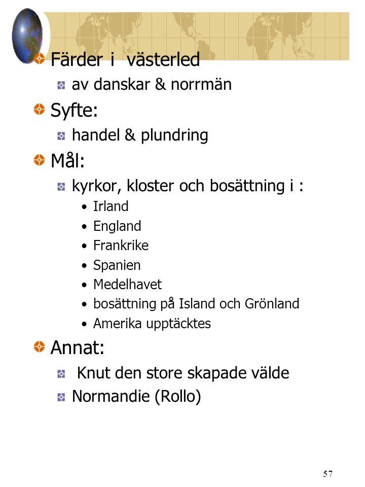 Färder i västerled Syfte: Mål: Annat: av danskar & norrmän