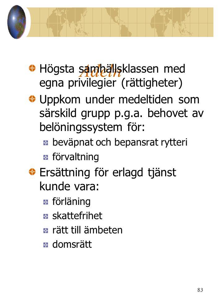 Adeln Högsta samhällsklassen med egna privilegier (rättigheter)