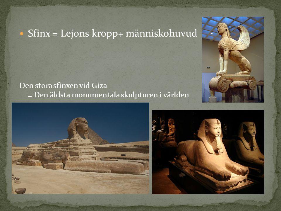 Sfinx = Lejons kropp+ människohuvud
