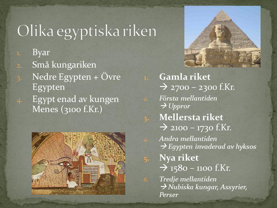Olika egyptiska riken Byar Små kungariken Nedre Egypten + Övre Egypten