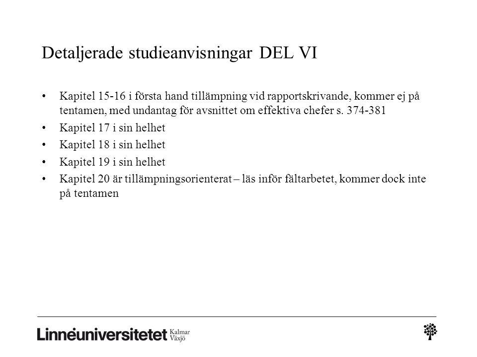Detaljerade studieanvisningar DEL VI