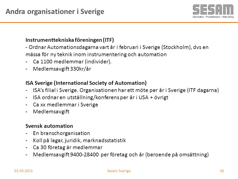 Andra organisationer i Sverige