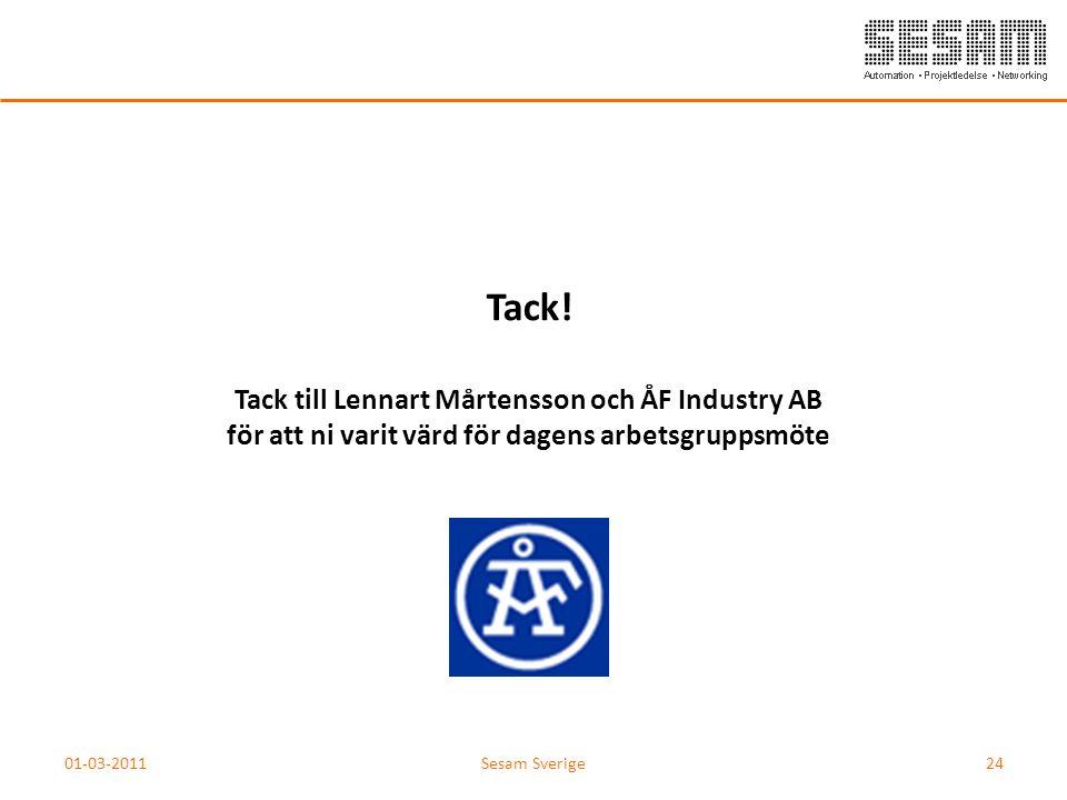 Tack! Tack till Lennart Mårtensson och ÅF Industry AB