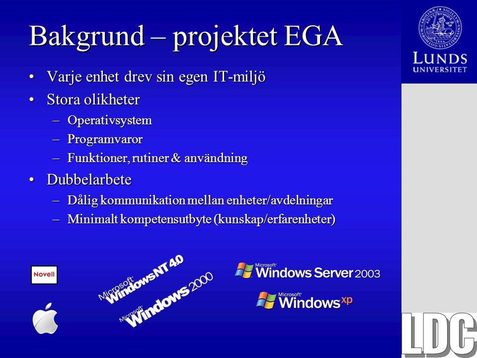 Bakgrund – projektet EGA