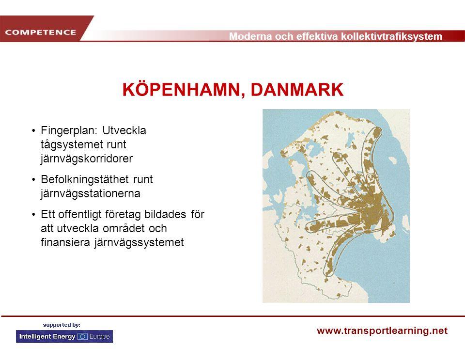 KÖPENHAMN, DANMARK Fingerplan: Utveckla tågsystemet runt järnvägskorridorer. Befolkningstäthet runt järnvägsstationerna.