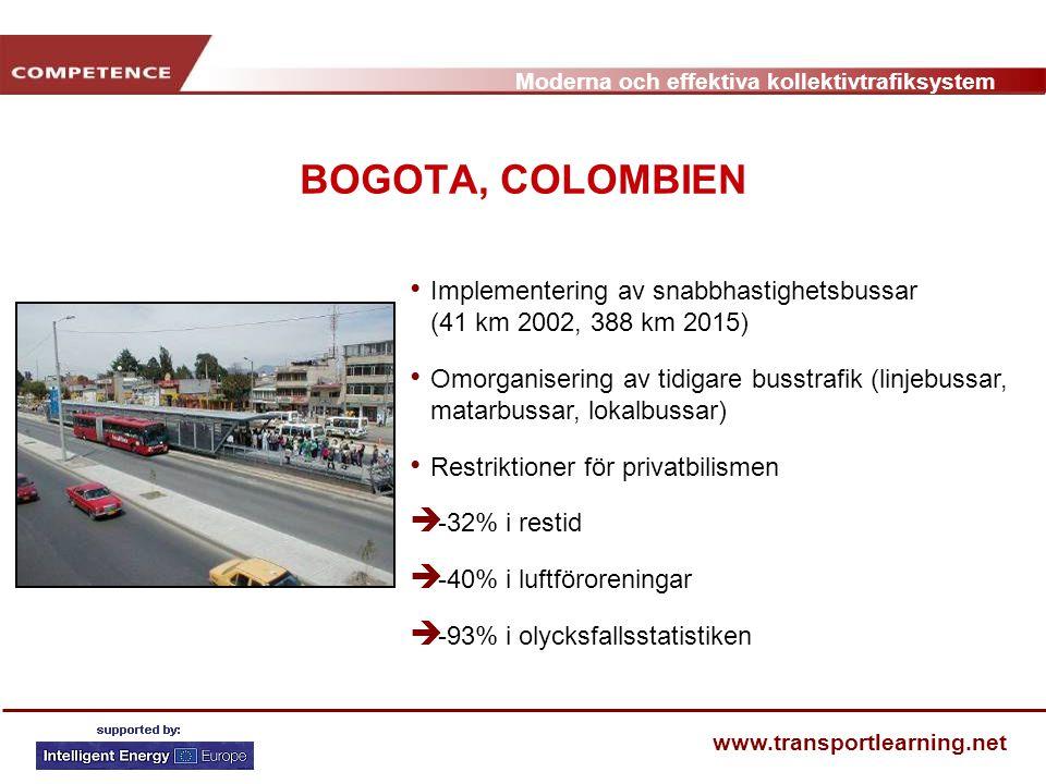 BOGOTA, COLOMBIEN Implementering av snabbhastighetsbussar (41 km 2002, 388 km 2015)