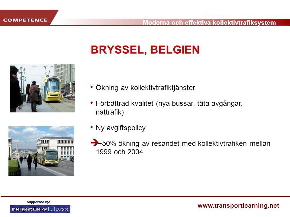 BRYSSEL, BELGIEN Ökning av kollektivtrafiktjänster