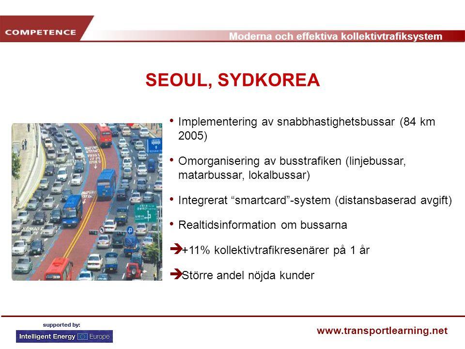 SEOUL, SYDKOREA Implementering av snabbhastighetsbussar (84 km 2005)