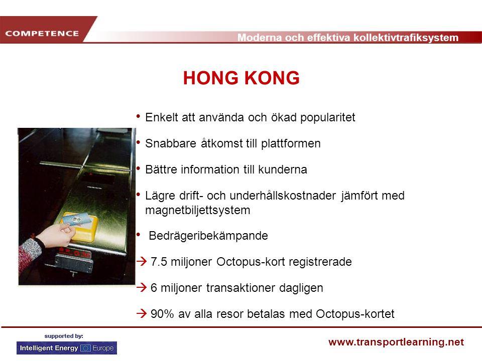 HONG KONG Enkelt att använda och ökad popularitet