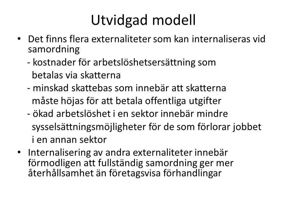 Utvidgad modell Det finns flera externaliteter som kan internaliseras vid samordning. - kostnader för arbetslöshetsersättning som.
