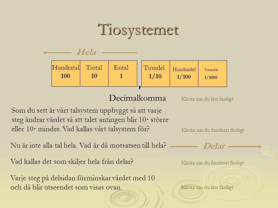 Tiosystemet Vårt talsystem , Hela Decimalkomma Delar