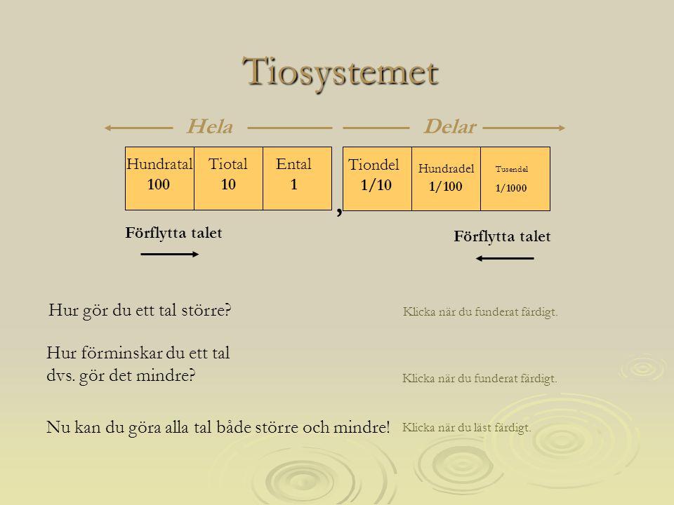 Tiosystemet , Hela Delar Förflytta talet Förflytta talet
