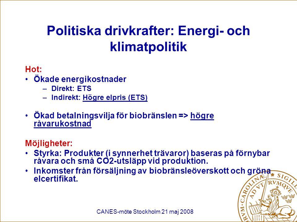 Politiska drivkrafter: Energi- och klimatpolitik